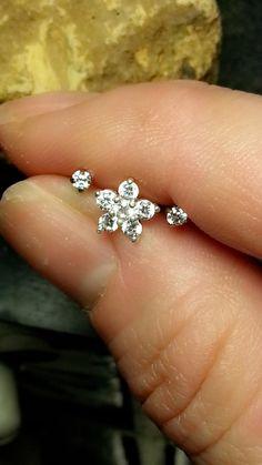 "Clear Flower Tragus Cartilage Earring Ring Triple Forward Helix Triple Stud 16g 18g 1/4"" Piercing Bar Barbell Sterling Silver Steel Jewelry by ABodyJewelry on Etsy https://www.etsy.com/listing/246723396/clear-flower-tragus-cartilage-earring"