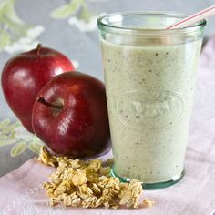 apple pie smoothie - some of the ingredients: apples, yogurt, granola, almond butter, maple, honey, cinnamon... yes please