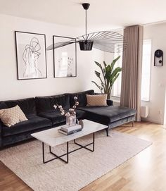 brilliant solution small apartment living room decor ideas and remodel 27 ⋆ Home & Garden Design Small Apartment Living, Home Living Room, Living Room Designs, Nordic Living Room, White Living Room Furniture, Black Sofa Living Room Decor, Design Salon, Living Room Inspiration, Room Interior