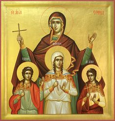 On September 17 the Orthodox Church commemorates the Holy Martyrs Sofia, Faith, Hope and Love and pays tribute to the virtues. September is the Day of the capital of Bulgaria - Sofia. Printable Images, Afro, Apostles Creed, Common Prayer, S Icon, Prayer Book, Orthodox Icons, Religious Art, Beautiful Paintings
