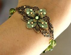 Flower Bracelet Beadwork Jewelry Gift  Crystal by AmberSky on Etsy