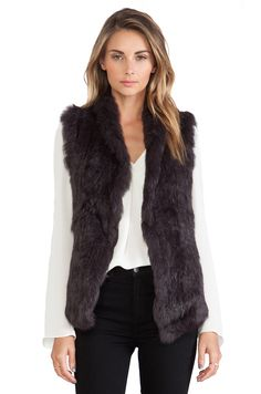 June Semi Long Hair Rabbit Fur Vest in Espresso