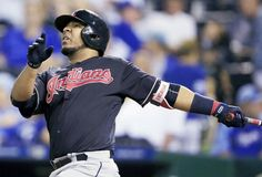 Cleveland Indians' Edwin Encarnacion watches a solo home run during the ninth inning  against the Kansas City Royals at Kauffman Stadium in Kansas City, MO., Friday, Aug. 18, 2017. The Indians defeated the Royals 10-1. (AP Photo/Orlin Wagner).