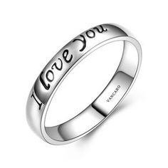 925 Sterling Silver Ring/Wedding Band with 'I love you' Engraved
