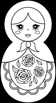 Matryoshka Doll Coloring Page - Free Clip Art Rock Painting Patterns, Painting Templates, Felt Doll Patterns, Doll Drawing, Pretty Drawings, Paper Dolls Printable, Doll Painting, Matryoshka Doll, Doll Quilt