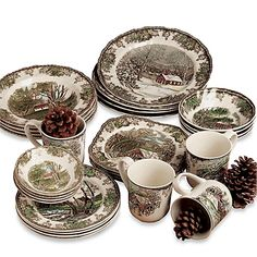 The centers of this beautiful Johnson Brothers Friendly Village earthenware depict scenes and landscapes from a  sc 1 st  Pinterest & Johnson Brothers Friendly Village 28-Piece Dinnerware Set ...