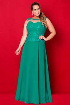 Green round neckline embroidered bodice chiffon long plus size evening dress / prom dresses/ mother Vestidos Plus Size, Plus Size Gowns, Evening Dresses Plus Size, Plus Size Outfits, Dresses Uk, Fashion Dresses, Prom Dresses, Formal Dresses, Dress Prom