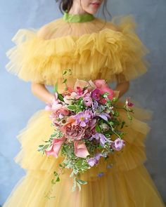 🍋This canary yellow dress and colorful bouquet by blew us away this week and has us doing a sun dance for the remnants of… Colored Wedding Dresses, Boho Wedding Dress, Floral Wedding, Wedding Colors, Wedding Bouquets, Wedding Flowers, Wedding Trends, Trendy Wedding, Wedding Ideas