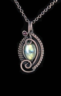 Copper Wire Wrapped Pendant With Green And Blue Labradorite Gemstone And Garnet by ImaginariumGiftsShop on Etsy
