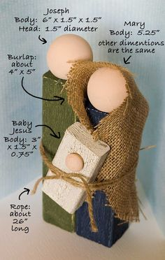 """DIY Simple Wooden Holy Family Nativity. Buy wood supplies; refer to picture for dimensions + 3 wooden knobs. 3/4"""" one for Baby Jesus. Flesh colored acrylic paint & green, blue & white crackle paint. 26"""" twine & a piece of burlap for Mary's shawl. Using picture as a guide, cut & then paint wood & assemble nativity; gluing together. :)"""