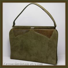 Vintage Suede Town and Country Handbag by LessonsInVintage on Etsy