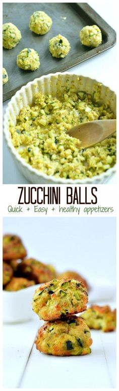Healthy, quick & easy party appetizers, only 5 ingredients + few minutes to makes those baked zucchini balls and impress your guest. #cleaneating #zucchini #glutenfree
