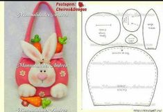 Easter Bunny Purse - just this pattern, no instructions Rabbit Crafts, Bunny Crafts, Easter Crafts, Felt Crafts, Crafts For Kids, Diy Ostern, Easter Projects, Felt Baby, Easter Holidays
