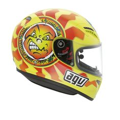 Awesome - AGV have just made the classic Valentino Rossi Sun & Moon helmet… Racing Helmets, Motorcycle Helmets, Bicycle Helmet, Valentino Rossi Helmet, Valentino Rossi 46, Vr Helmet, Andrea Iannone, Vr46, Helmet Design
