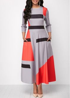 Pocket Three Quarter Sleeve Maxi Dress | Rosewe.com - USD $32.74