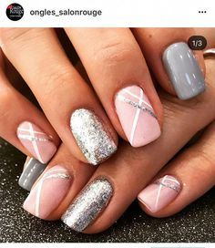 Lekkie zdobienia ногтики uñas de gel, uñas grises и Acrylic Nail Designs, Nail Art Designs, Acrylic Nails, Nails Design, Pedicure Designs, Pedicure Ideas, Nail Polish, Dipped Nails, Simple Nail Designs