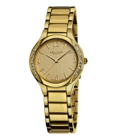 Take a look at this Gold Stainless Steel & Crystal Watch - Women by Akribos XXIV on #zulily today!