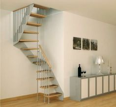 spiral space saving staircase in modern interior style