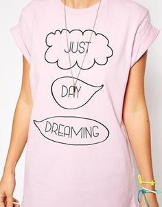Enlarge ASOS Boyfriend T-shirt with Just Day Dreaming Speech Bubble Print