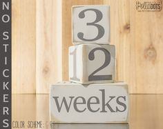 Wooden Baby Age Blocks NO STICKERS by Pretty In Polka Dots. Professionally printed! Baby week or month photos. Milestone blocks.