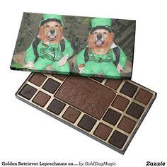 Golden Retriever Leprechauns on Stumps 45 Piece Box Of Chocolates