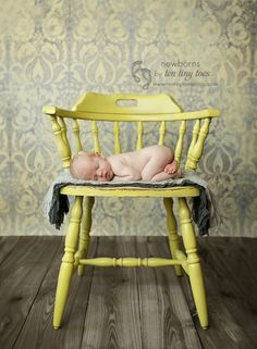 yellow & gray newborn baby on a chair    Newborn photos in MN  #tentinytoes