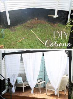 DIY Outdoor Cabana With Curtains