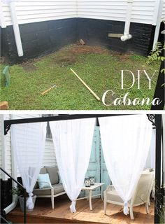 DIY outdoor cabana canopy with curtains