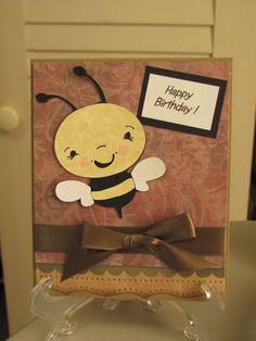 Birthday Bee Card by Michele Swanigan Moyers - Bee made using Cricut Create a Critter cartridge