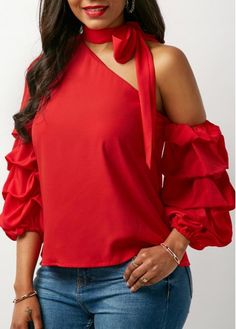 Red Tie Neck Layered Sleeve Blouse   Rosewe.com - USD $30.49