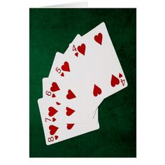 Poker Hands - Straight Flush - Hearts Suit Card