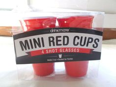 New 4 Drinkmate Mini Red Solo Shot Glasses Cups 2 Oz Reusable #Drinkmate