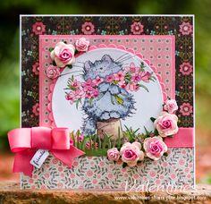 Penny black card, My Minds Eye Stella Rose, Hazel dsp, Whisper White, Garden Green  Pixie Pink card stock.