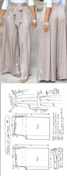 Calça Pantalona com pregas   DIY - molde, corte e costura - Marlene Mukai