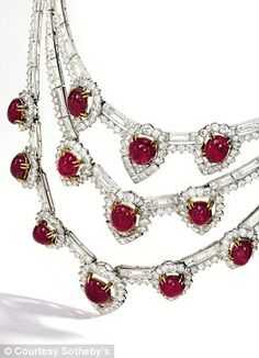 Platinum, 18-carat gold, ruby and diamond necklace from Van Cleef & Arpels circa 1950 estimated at $150,000 from the Lauder collection to be auctioned