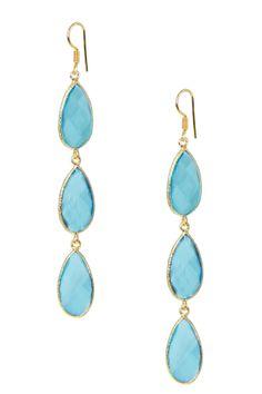 Saachi Blue Topaz Teardrop Triple Drop Earrings