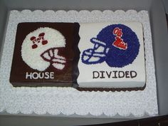 """""""House Divided:  Mississippi State vs. Ole Miss""""  this is a cute idea for V-Day, or for a groom's cake!!"""