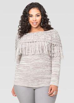 Marled Fringe Marilyn Sweater Ashley Stewart