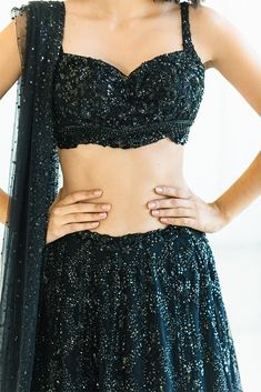 Glamorous black bridal lehenga for the modern bride. Indian Gowns Dresses, Indian Fashion Dresses, Dress Indian Style, Indian Designer Outfits, Ethnic Fashion, 80s Fashion, Indian Wear, Korean Fashion, Fashion Tips