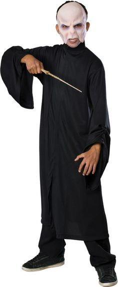 """There is no villain spookier than """"He who must not be named"""" from Harry Potter. The Voldemort Halloween Costume features a flowing black robe and a mask of the Dark Lord's scary face. Easy to put on and comfortable to wear. Harry Potter Voldemort, Lord Voldemort, Harry Potter Enfants, Fancy Dress, Dress Up, Costume Shop, Halloween Costumes For Kids, Halloween Fashion, Teen Costumes"""