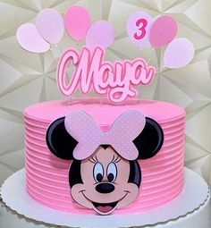 U r sleeping? Minnie Mouse Birthday Cakes, Birthday Cake Girls, Minnie Mouse Party, Bolo Minnie, Minnie Cake, Minnie Mouse Cake Topper, Mini E, Buttercream Birthday Cake, Frozen Themed Birthday Party
