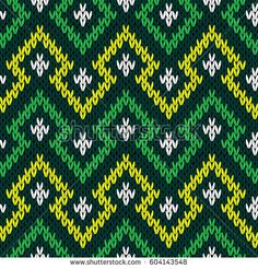 Knitting seamless geometric vector pattern in yellow, white and green hues as a fabric texture