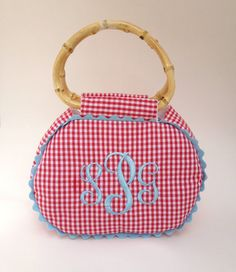 Large Monogrammed Gingham Purse by peppermintbee on Etsy, $70.00