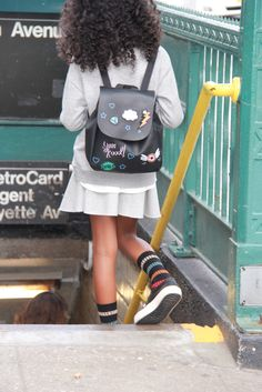 Back to School in Clinton Hills, Brooklyn......wearing her favorite bag back from Zara Kids Fall 16 Collection