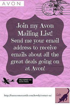 Avon always has great deals. Shoot me an email to be added to my Avon Insider list. Avon Party Ideas, Avon Ideas, Avon Sales, Avon Brochure, Shops, Avon Online, Avon Representative, Beauty Bar, Hair Beauty