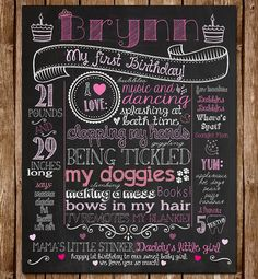 First Birthday Chalkboard Poster Sign for Birthday Parties - Customized Custom Printable File - Baby's First Birthday - Boy or Girl Girl First Birthday, Baby Birthday, First Birthday Parties, First Birthdays, Birthday Photos, Birthday Posters, Birthday Ideas, Chalkboard Poster, Chalkboard Baby