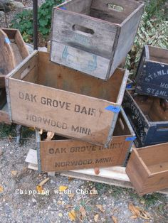Chipping with Charm: Fall Country Junk Sale. Wooden Crate Boxes, Vintage Crates, Oak Grove, Down On The Farm, Its A Wonderful Life, The Dreamers, Crate Ideas, Barrels, Buckets