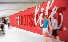 Identity for fitness club. Clinic Interior Design, Gym Interior, Wayfinding Signage, Signage Design, Environmental Graphics, Environmental Design, Hoarding Design, Expo Stand, Gym Logo