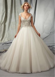 Gorgeous Organza & Tulle V-neck Neckline Natural Waistline Ball Gown Wedding Dress With Embroidered Beadings
