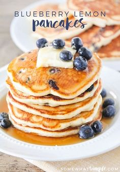 These blueberry lemon pancakes are so light and fluffy, and bursting with juicy blueberries!